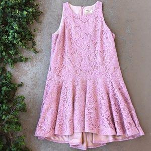 Eliza J Pink Lace Drop Waist Mini Dress